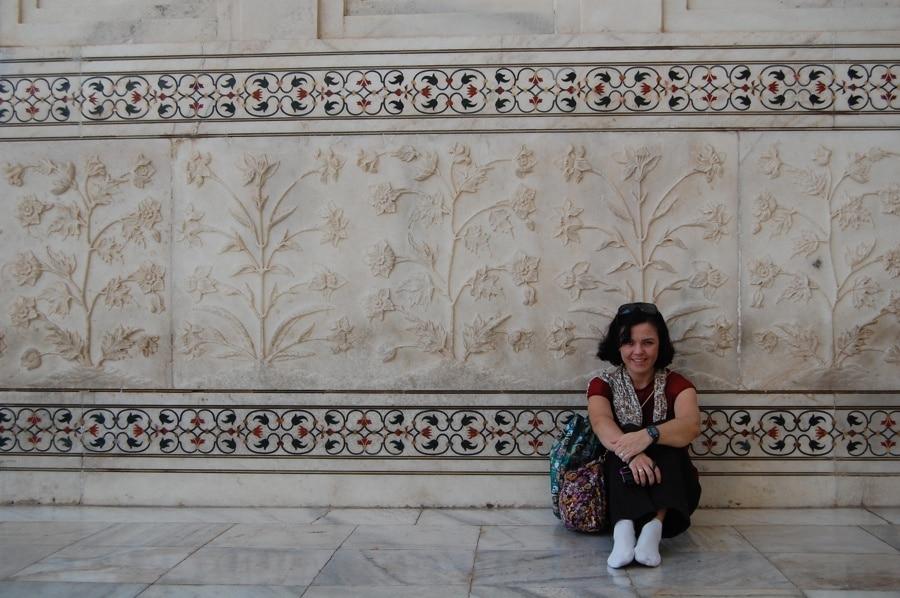 Pared de flores en mármol del Taj Mahal