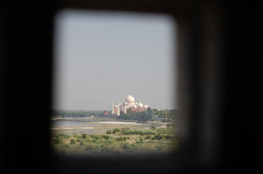 Taj Mahal desde el fuerte de Agra